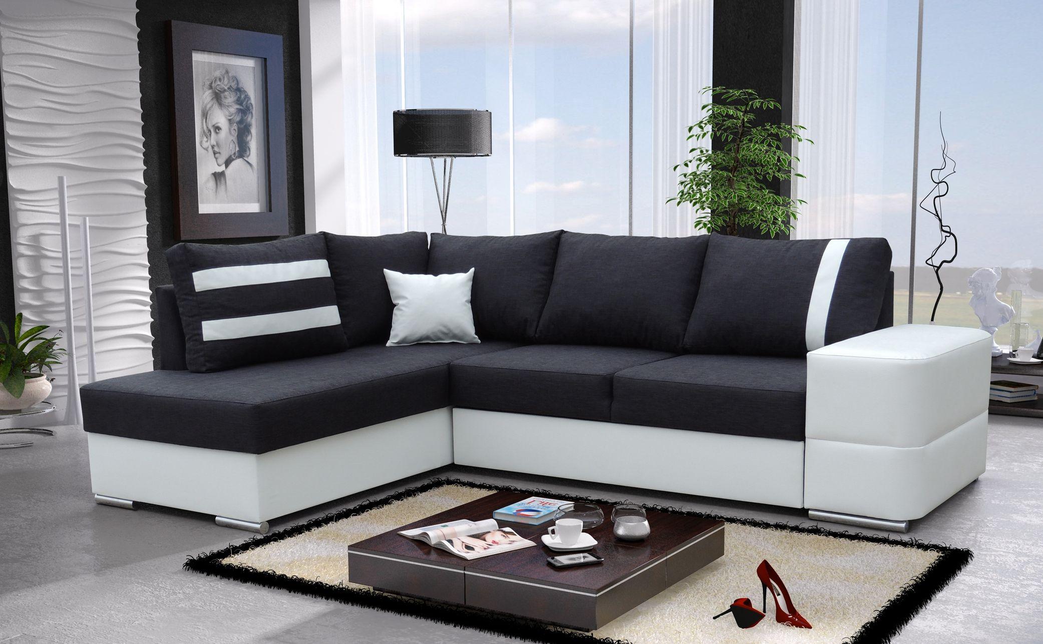Corner sofa bed malaga ii fabric or faux leather left or - Furniture malaga ...