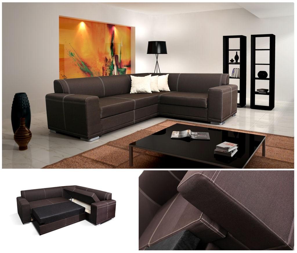 Corner Sofa Bed Ebay Uk: Monaco Corner Sofa Bed Faux Leather Or Fabric, Left Or